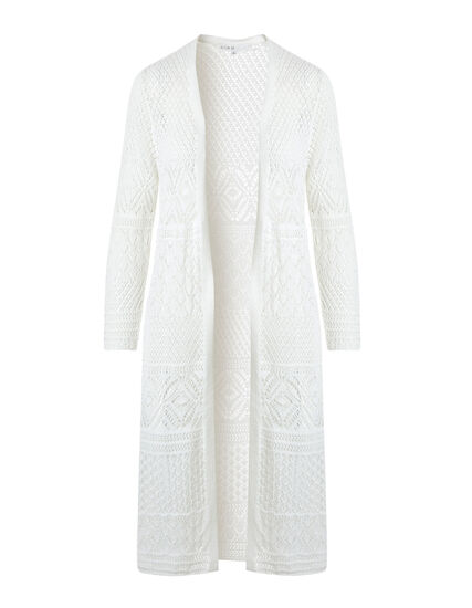 Ivory Long Crochet Cardigan, Ivory, hi-res