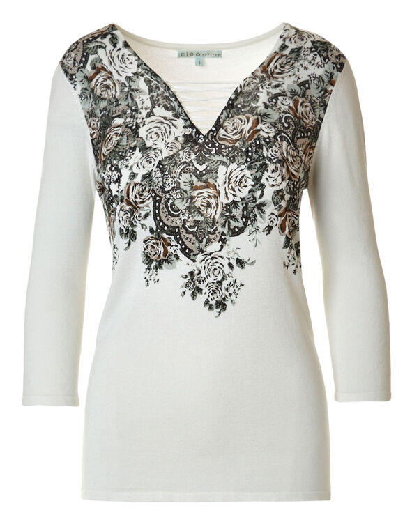 Ivory Floral Printed Sweater, Ivory, hi-res