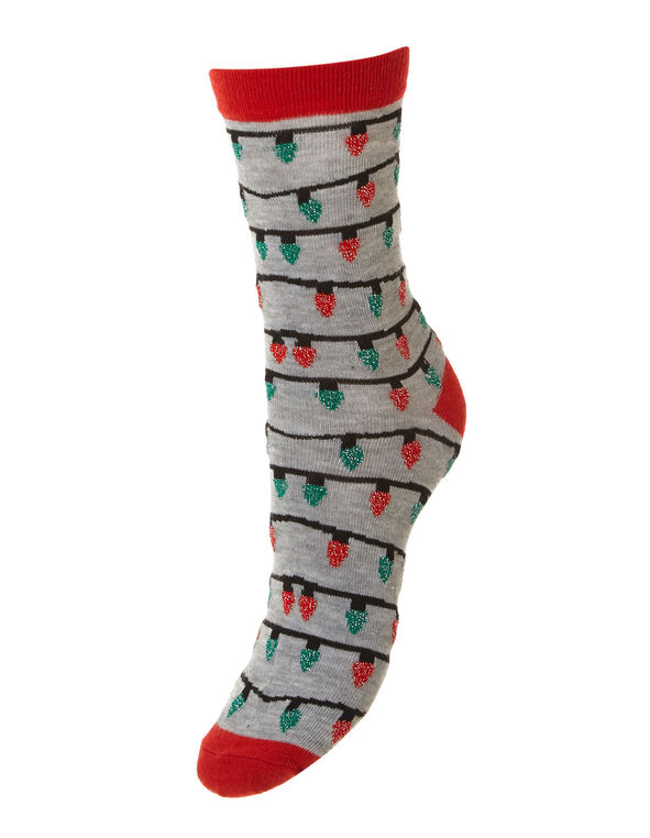 Holiday Lights Printed Socks, Grey, hi-res