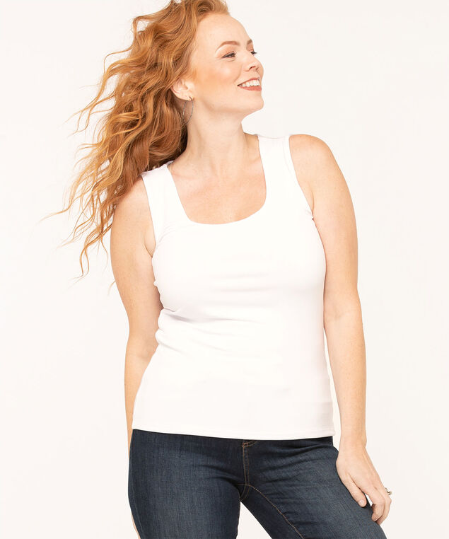 Essential Scoop Neck Layering Tank, Ivory, hi-res