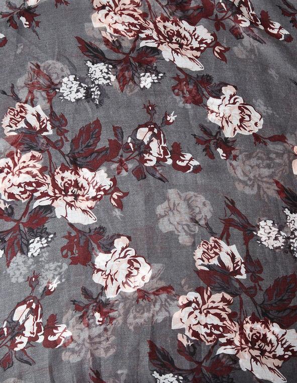 Grey Floral Print Scarf, Grey, hi-res