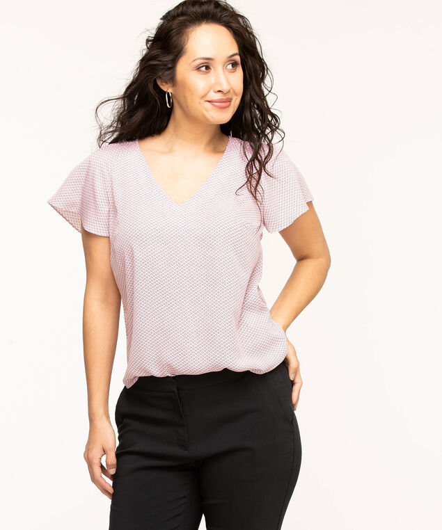 Pleated Flutter Sleeve Blouse, Pink/Black