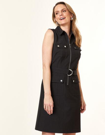 Collared Safari Dress, Black, hi-res