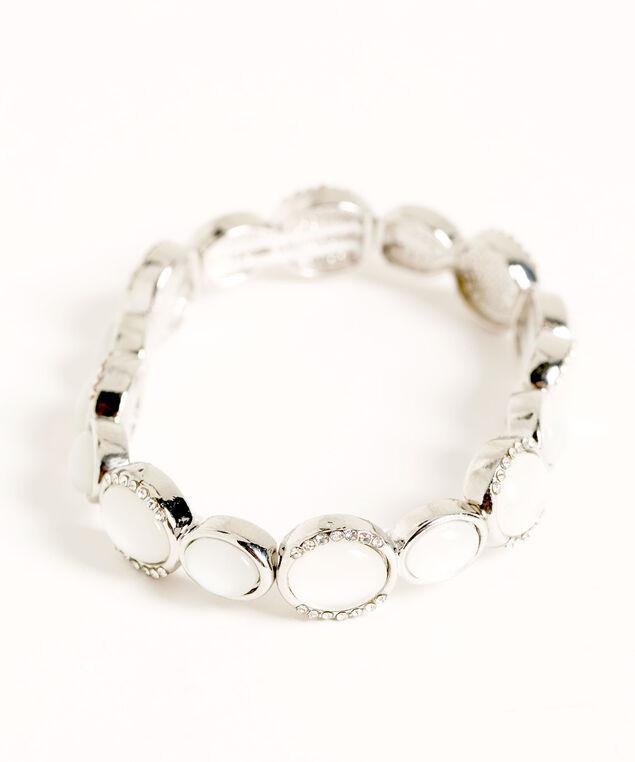 Silver Cateye Stone Stretch Bracelet, Silver, hi-res