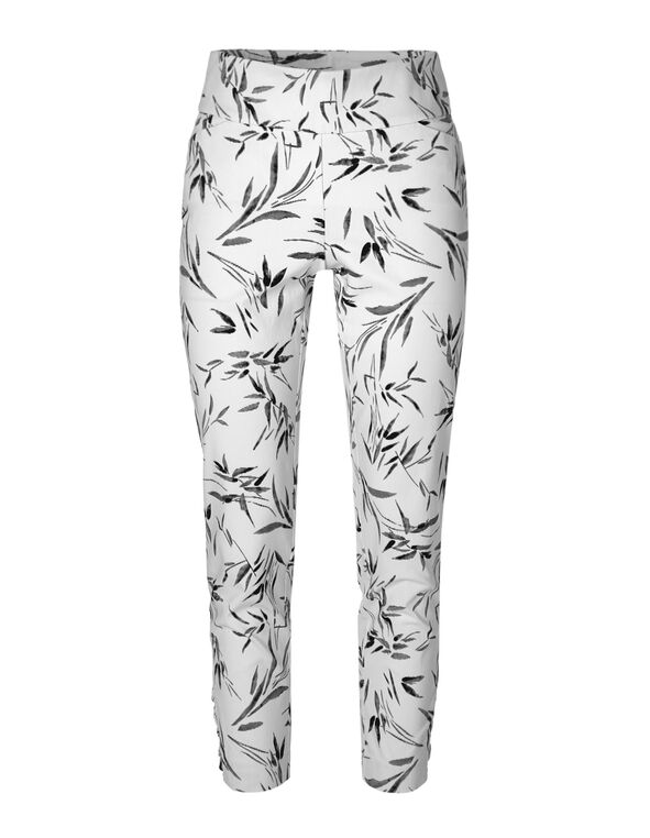 White Palm Pull On Ankle Pant, White, hi-res
