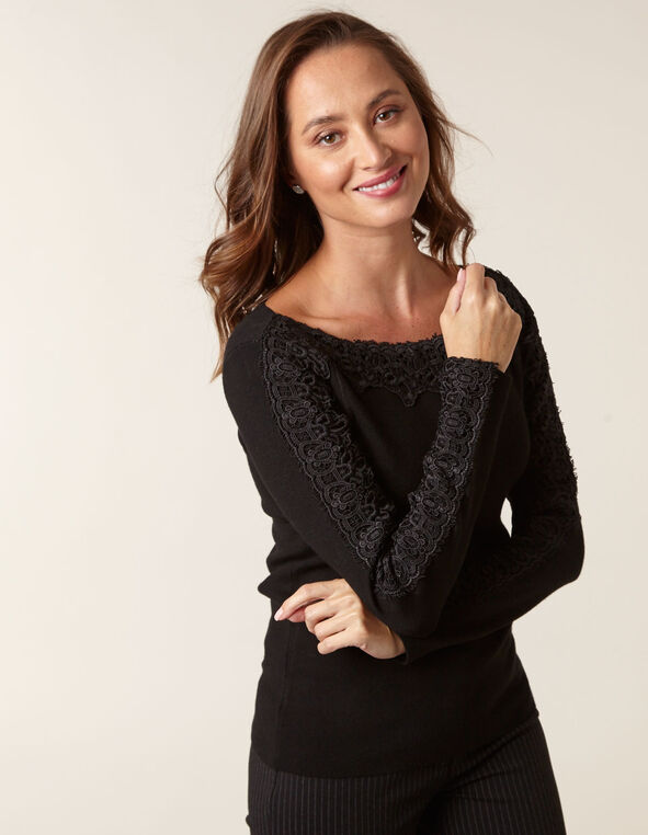 Black Lace Detail Sweater, Black, hi-res