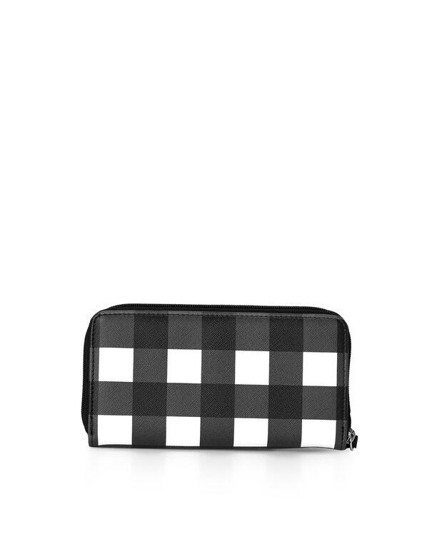 Black Gingham Wallet, Black/White, hi-res