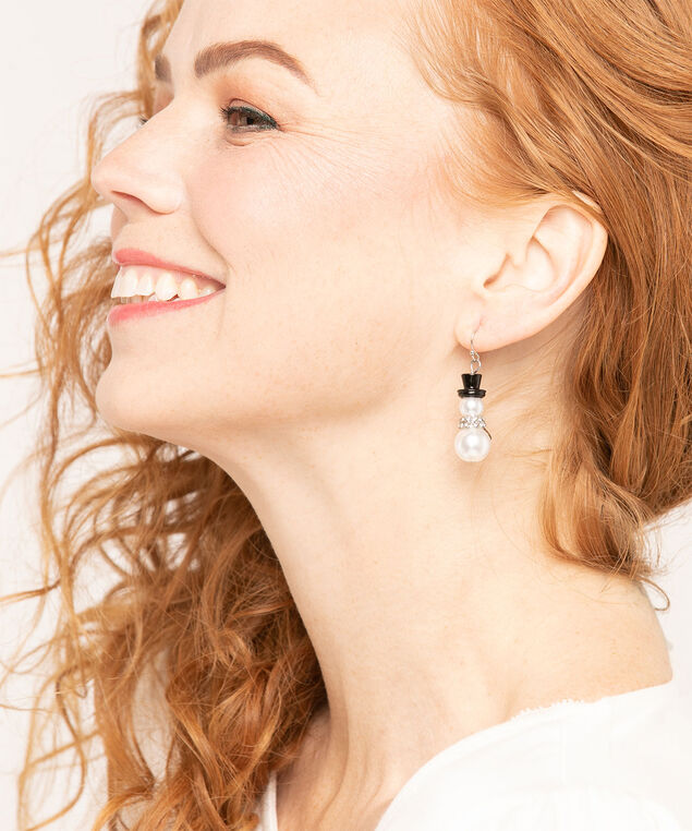 Pearl Snowman Earrings, Black/Pearl, hi-res