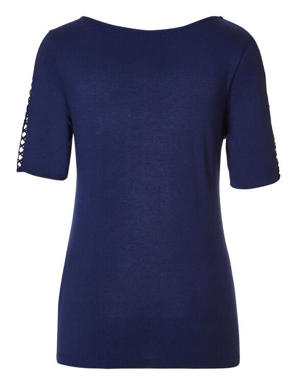 Ink Blue Crochet Sleeve Tee, Ink Blue, hi-res