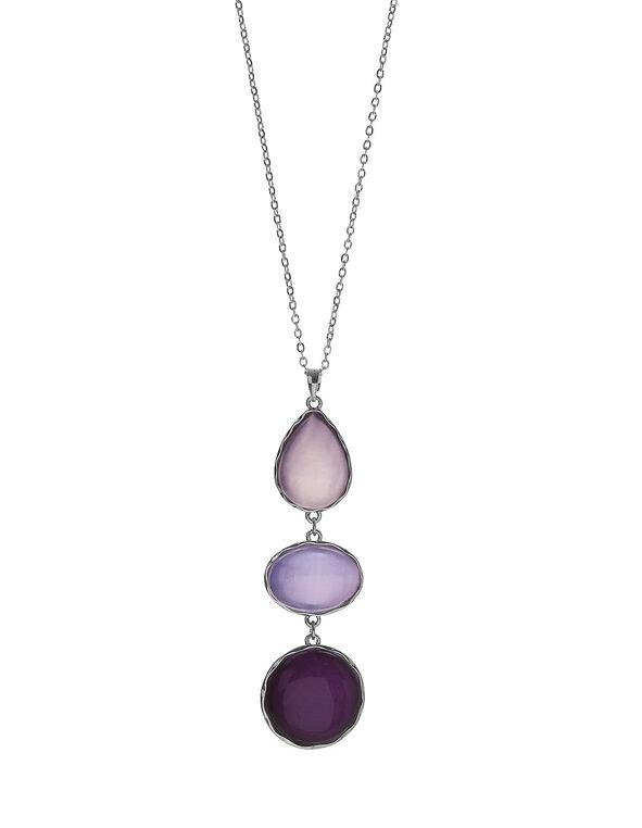Purple Cat Eye Necklace, Silver/Purple, hi-res