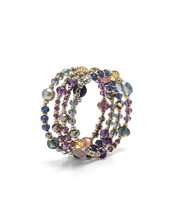 Coloured Coil Bracelet, Silver, hi-res