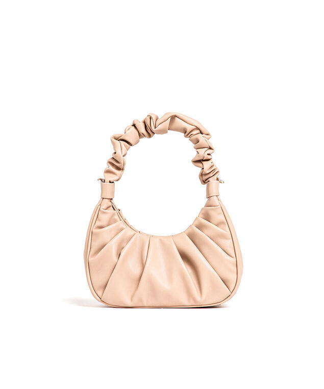 Taupe Ruched Vegan Leather Bag, Taupe