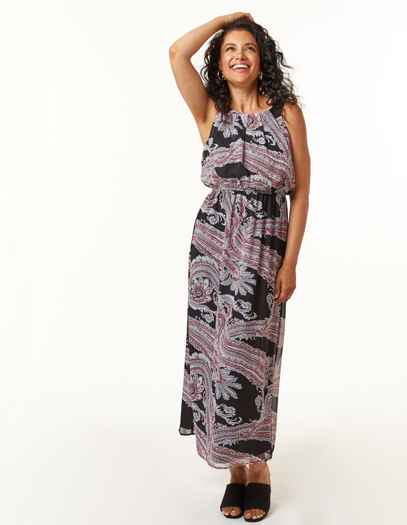 Black Paisley Maxi Dress, Pink, hi-res