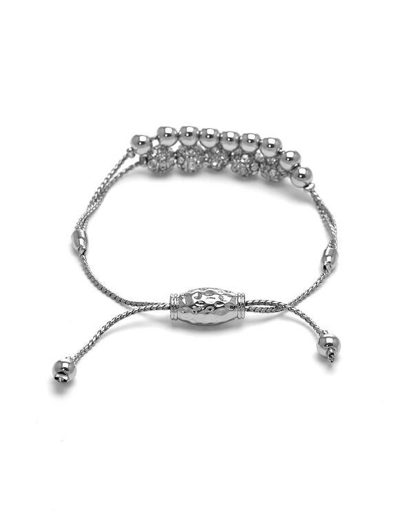 Silver Double Row Adjustable Bracelet, Silver, hi-res