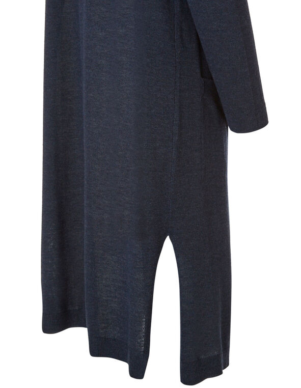 Long Navy Open Cardigan, Navy, hi-res