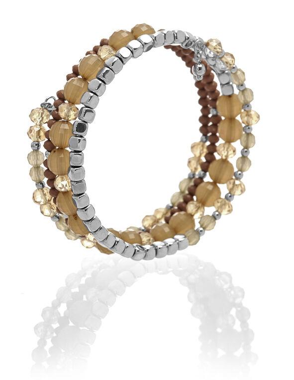 Neutral Beaded Bracelet, Brown, hi-res