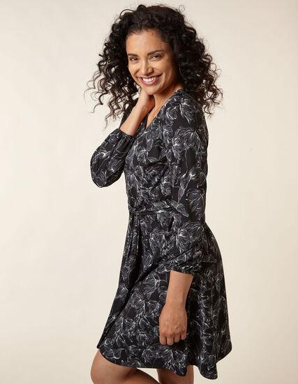 Black Floral Printed Fit & Flare Dress, Black, hi-res