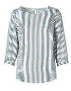 White Striped Cuff Sleeve Blouse, White, hi-res