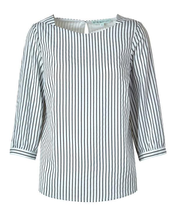 White Striped Cuff Sleeve Blouse, White, hi-res