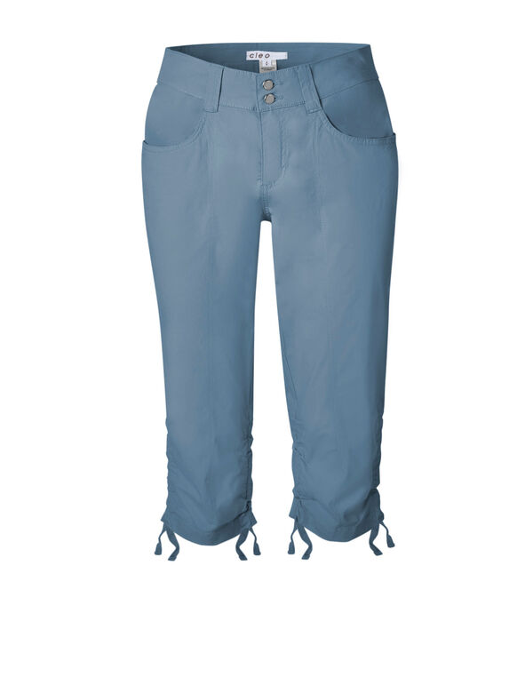 Chambray Ruched Poplin Capri, Chambray, hi-res