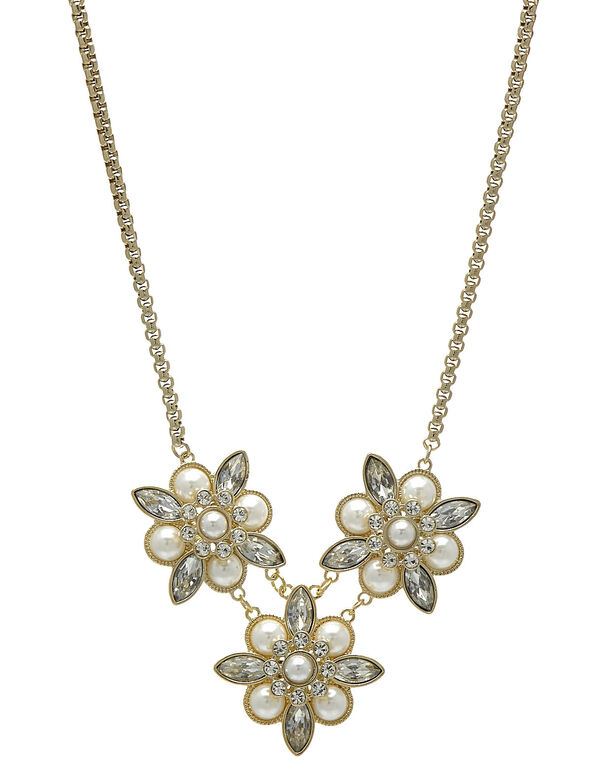 Crystal & Pearl Statement Necklace, Gold, hi-res