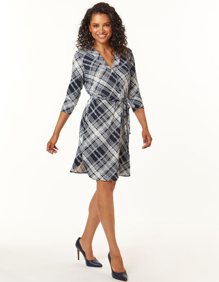 Navy Plaid Fit and Flare Dress, Navy, hi-res