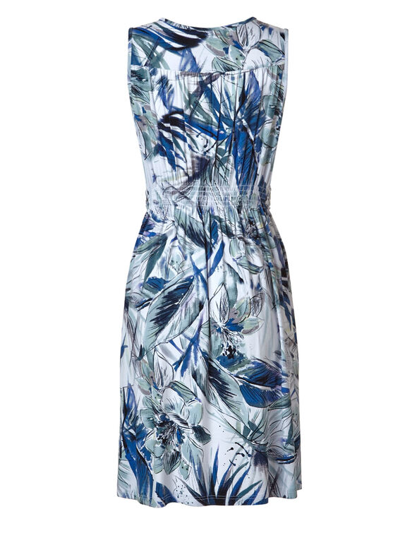 Tropical Palm Fit & Flare Dress, Blue, hi-res