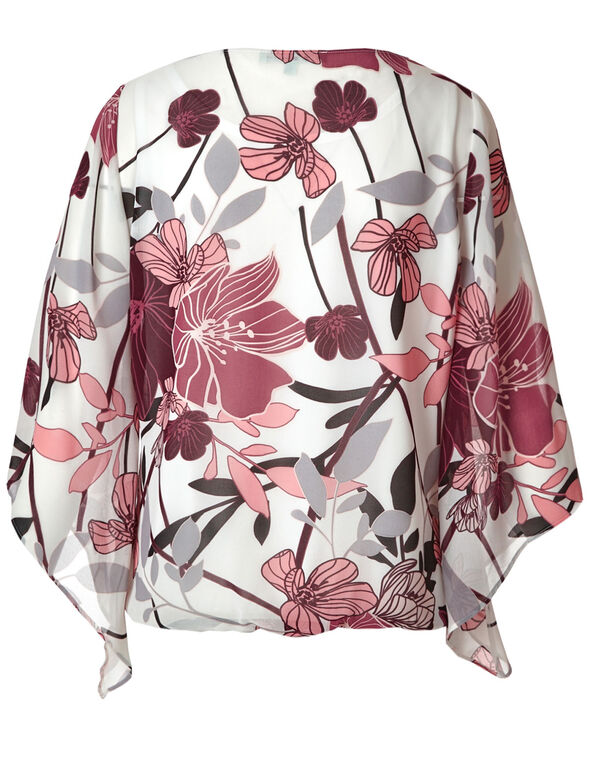Wine Floral Wide Sleeve Blouse, White/Wine, hi-res