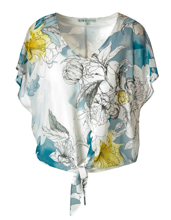 White Floral Chiffon Tie Blouse, White, hi-res