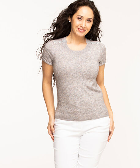 Button Shoulder Pullover Sweater, Grey Mix, hi-res