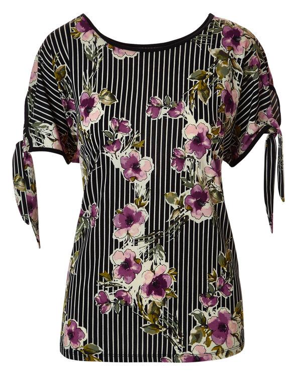Striped Floral Tie Sleeve Top, Striped Floral, hi-res