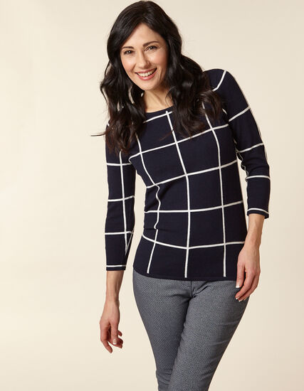 Navy Windowpane Pullover Sweater, Navy, hi-res