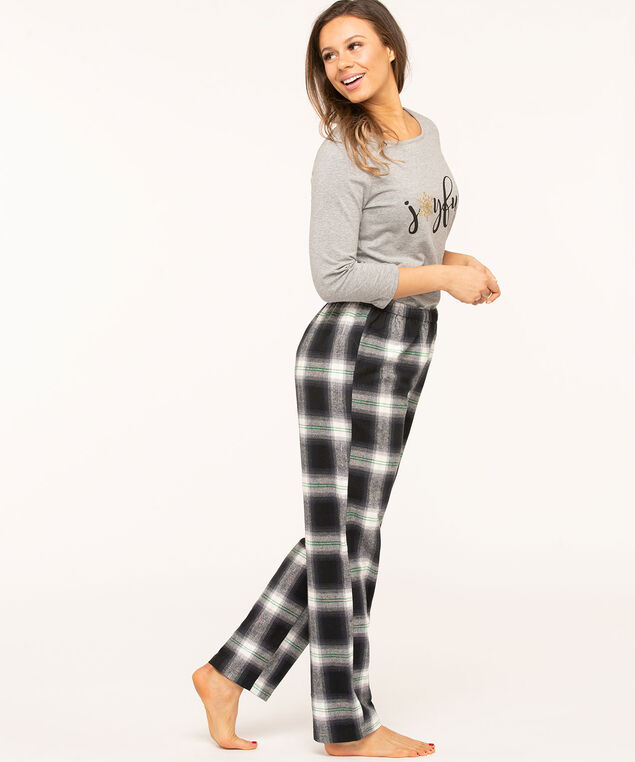 Plaid Pajama Pants, Navy/Green/White/Silver