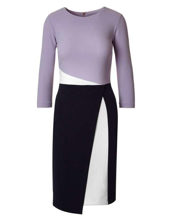 Lavender Colour Block Sheath Dress, Lavender, hi-res