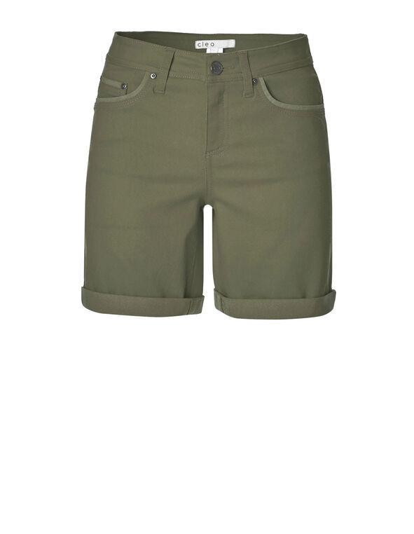 Olive Denim Shorts, Md Green, hi-res