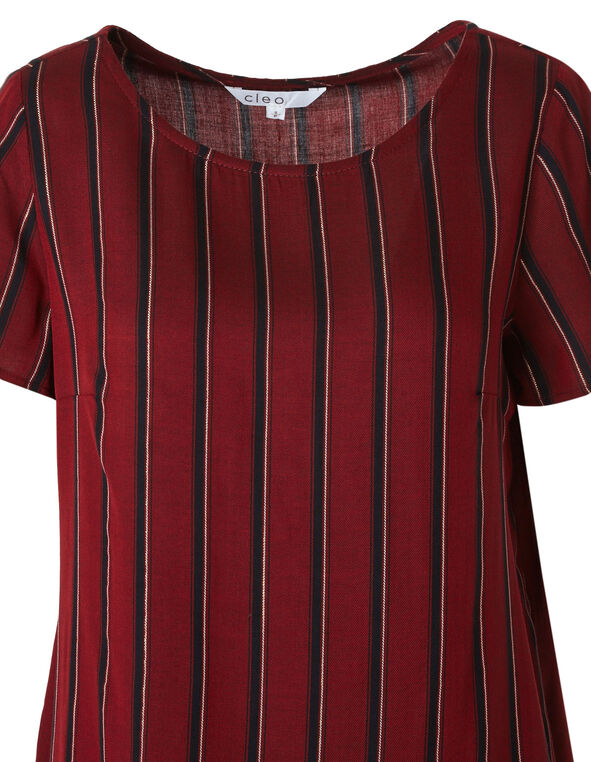 Merlot Striped Blouse, Red, hi-res