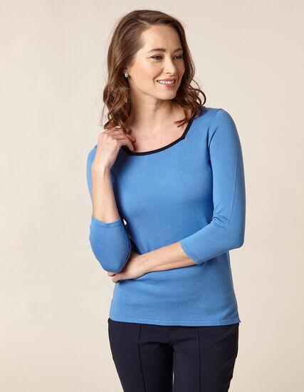 Light Blue Square Neck Sweater, Blue/Light Blue, hi-res