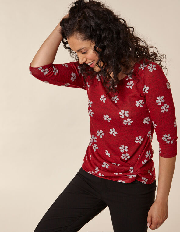 Red Printed Front Knot Hacchi Top, Red, hi-res