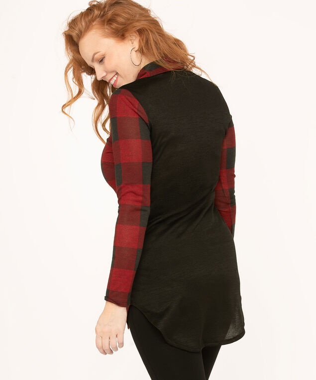 Long Button Front Shirt, Red/Black