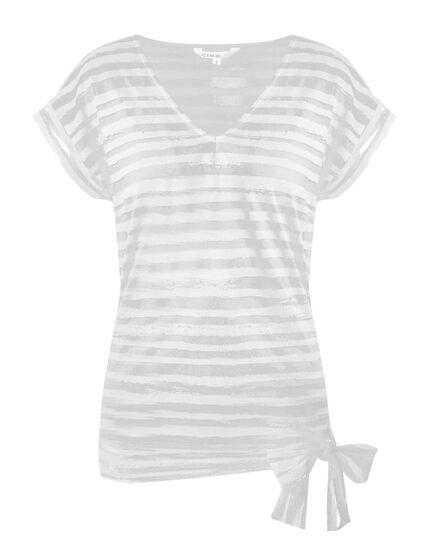 White Striped Burnout Top, White, hi-res