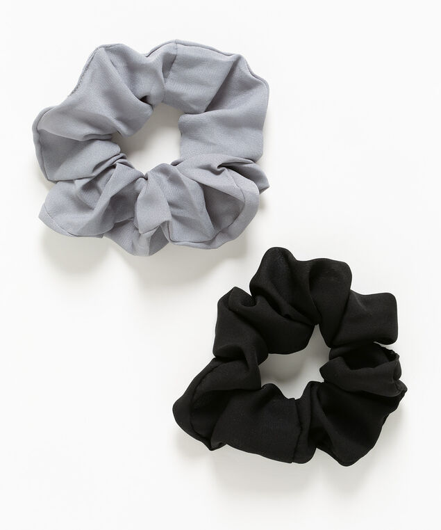 Woven Scrunchie 2-Pack, Black/Grey, hi-res
