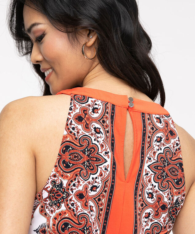 Paisley Scarf Halter Neck Top, Coral Paisley