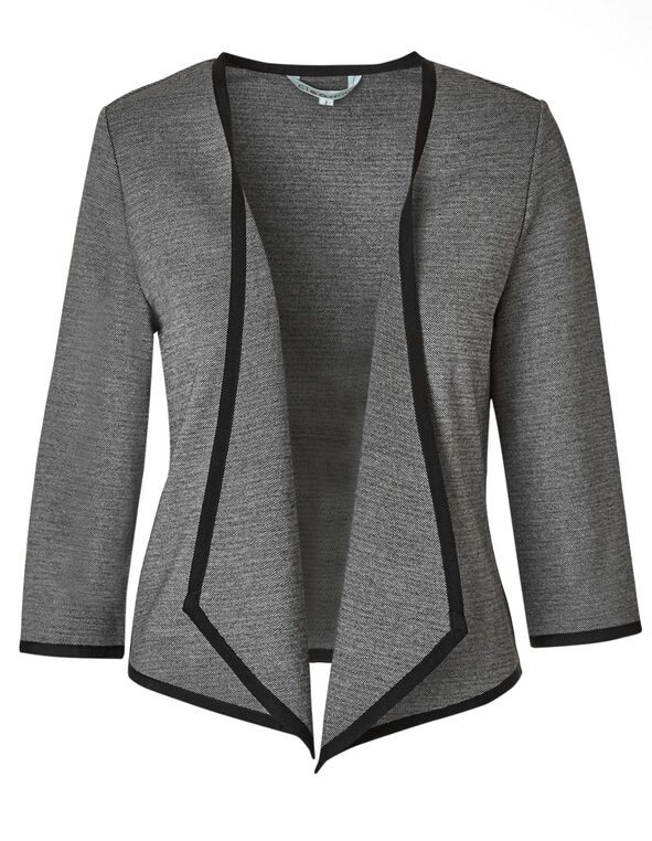 Black Patterned Knit Blazer, Grey, hi-res