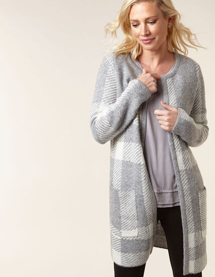 Grey Check Sweater Coat, Grey, hi-res