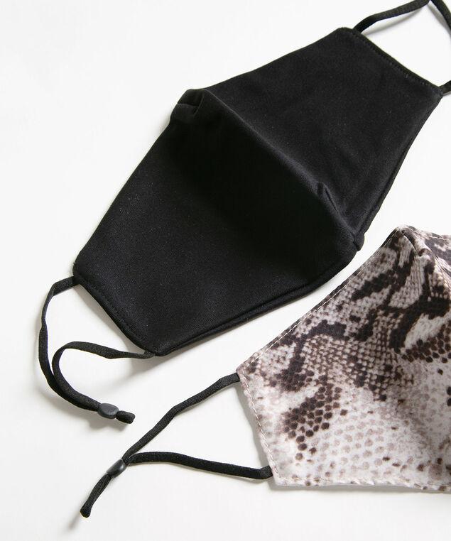 Black Python Face Mask Set, Black/Grey/Ivory