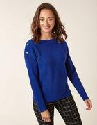 Sapphire Button Detail Sweater, Blue, hi-res