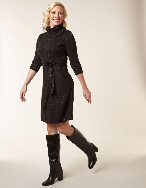 Black A-Line Sweater Dress, Black, hi-res