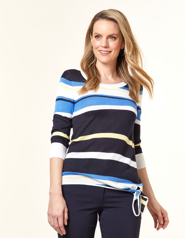 Multi-Stripe Tie Front Sweater, Blue/Cornflower, hi-res