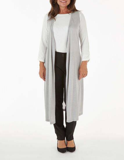Grey Long Sweater Vest, Grey, hi-res