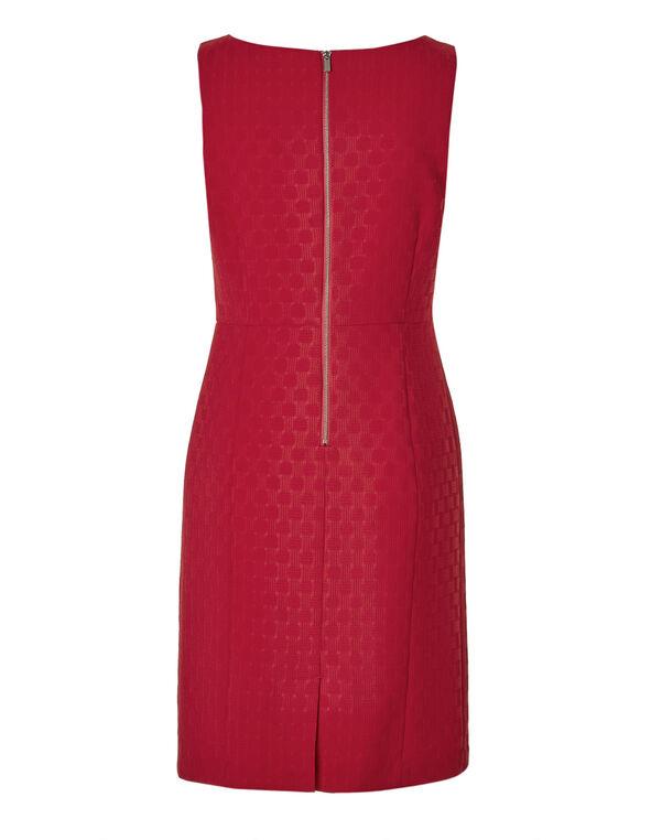 Red Basket Weave Sheath Dress, Red, hi-res